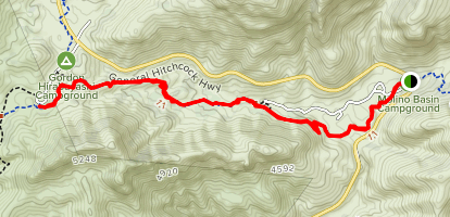 Molino CG to Prison Camp topo trail map